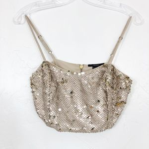 Forever 21 Gold Reversible Sequins Tank Crop Top